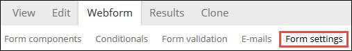 Form settings sub-tab.
