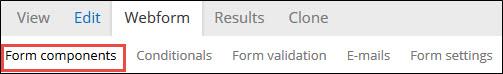 Webform tab and Form components sub-tab.