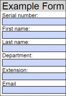 Fillable PDF form example containing serial number, first name, last name, department, extension, and email PDF fields.