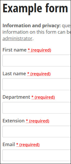Web Form example containing first name, last name, department, extension, and email form components.
