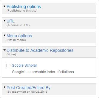 Google scholar settings.