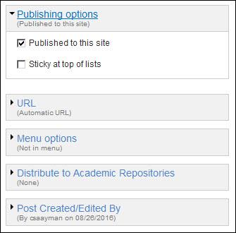 Publication options.