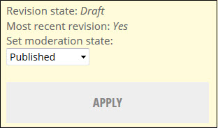 Moderation state changed to published with the apply button.