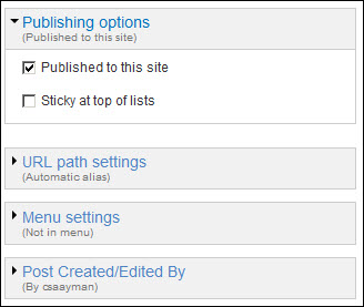 Publishing options field.