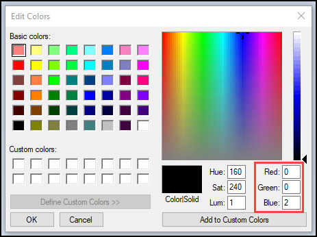 Screenshot of Edit Colors window, with RGB codes highlighted.