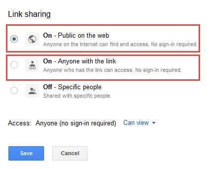 Link sharing options box.