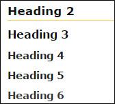 Heading 2, heading 3, heading 4, heading 5 and heading 6 styles.
