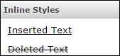 Inline styles which includes inserted text and deleted text.