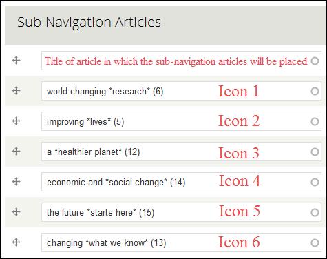 Sub navigation items
