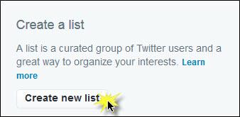 Create new list button.