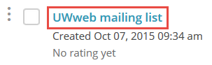 Example of mailing list on MailChimp site.