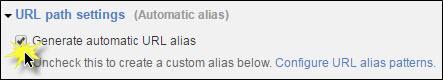 Generate automatic URL alias box checked.