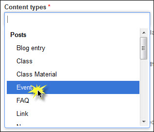 Selecting Event content type.
