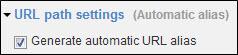 Generate automatic URL alias checked.