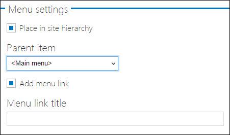 Web page menu settings.
