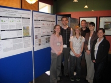 Dr. Strack and several students at a poster session.