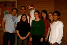 A group of students with Santa Claus