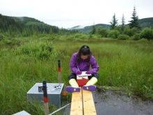 A researcher measuring methane flux in a mountain fen.
