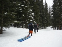 Researchers pulling a sled through a snowy forest.