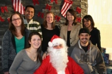 A group of students with Santa Claus.