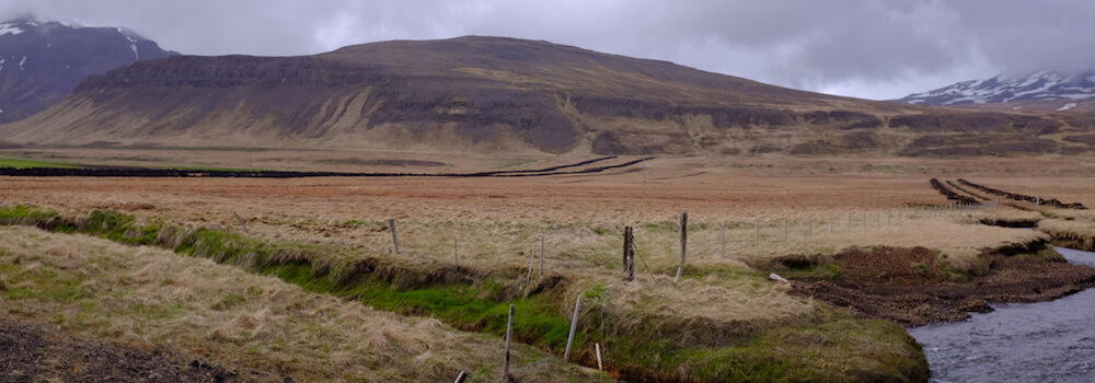 Drainage ditches dug for grazing pasture in the Snæfellsnes peninsula of Iceland