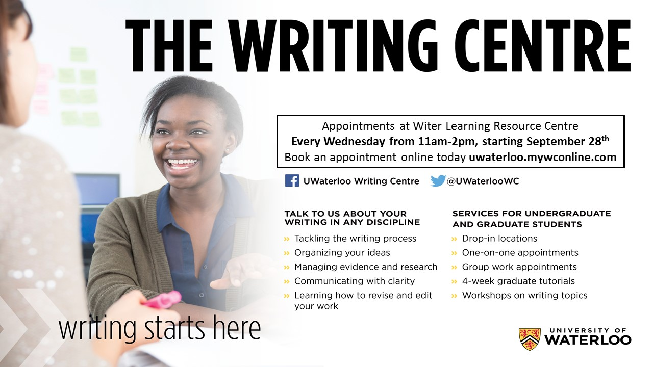 writing centre advertisement for the school of optometry appointments