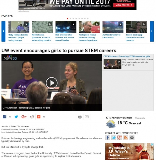 ctv news story on Go ENG Girl - capture of news article