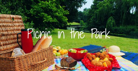 Picnic basket in the park