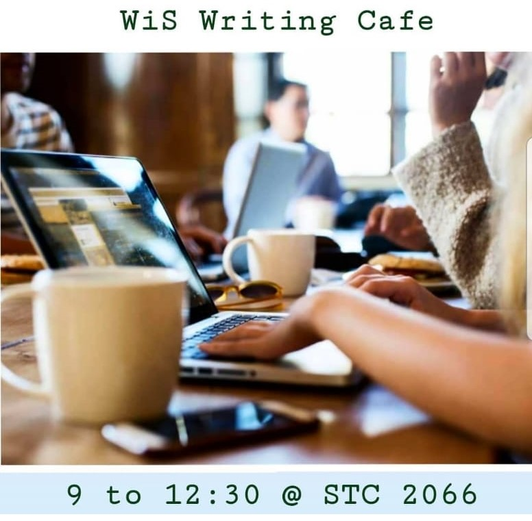 Poster with persons with laptops writting in a cafe.