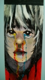 A painting of mine from grade 12. Grey skinned person with white/grey hair. Eyes/nose/mouth bleeding primary colours?