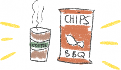A cup of hot coffee, and a bag of BBQ chips, glowing.