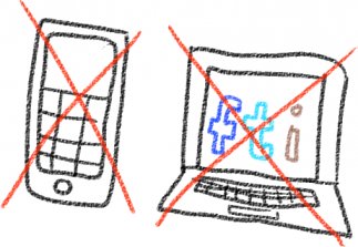 A drawing of a phone and a laptop crossed-out with a red 'X'