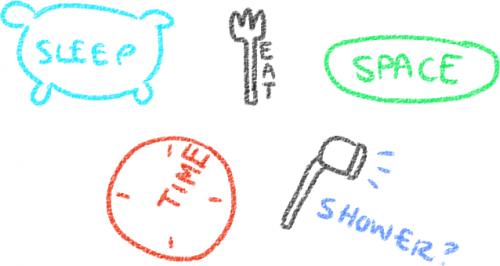 "a pillow with ""sleep"" on it, a fork with ""eat"" beside it, a oval with ""space"" on it, a clock with ""time"" on it, and a shower head with ""shower?' coming out the head"