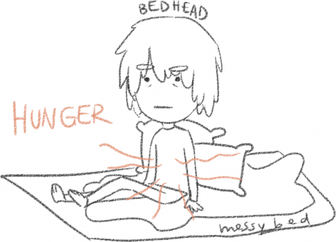 me, with bed-head, sitting on my messy bed, stomach growling because I'm hungry