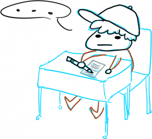 """Me, sitting on a table, writing a conclusion on a piece of paper. I'm stuck, with a speech bubble saying """"..."""""""