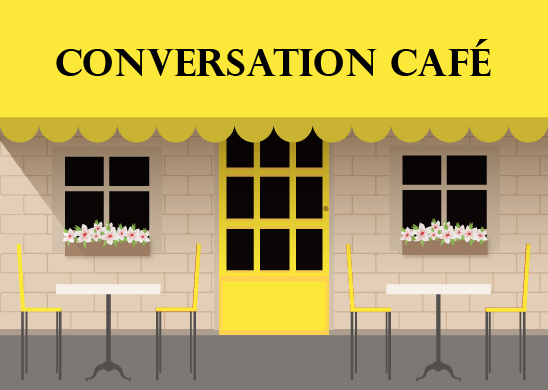 A café with Conversation Café on the awning