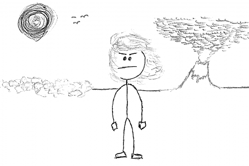 Person standing in the wind with an erupting volcano and scorching hot sun in the background.