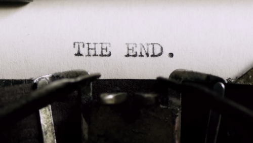 """The End."" typed on a typewriter"