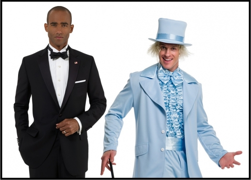 Man in a formal suit standing beside a man in a ridiculous blue suit