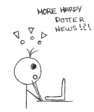 A person sitting at their laptop excited about more Harry Potter news on their screen.