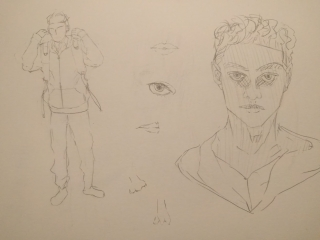 Drawing of fullbody person wearing hoodie. Drawing of headshot of a person with short hair.