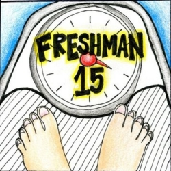 "Drawing of someone's feet while standing on a scale that says ""Freshman 15"""