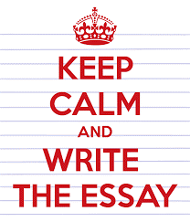 """Image with the text """"keep calm and write the essay"""""""