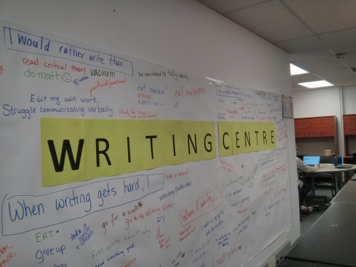 Writing Centre mural with writing and comments all over it