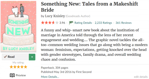 """Goodreads page for Lucy Knisley's """"Something New"""""""