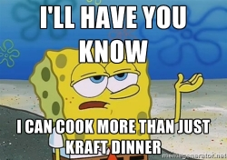 "Meme of Spongebob Squarepants with the phrase ""I'll have you know I can cook more than just Kraft Dinner"""