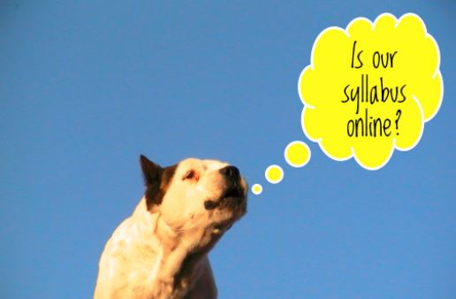 "Dog against a blue backdrop asks itself ""Is our syllabus online?"""