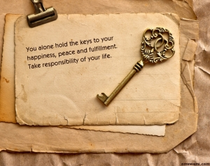 """A photo of old envelopes and old key saying """"You alone hold the keys to happiness, peace and fulfillment. Take responsibility of your life"""