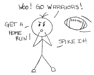 Person on sidelines of a sporting event cheering on the team.
