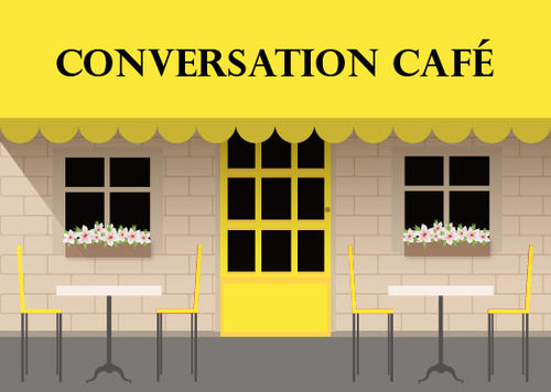 A café with Conversation Café written on the awning